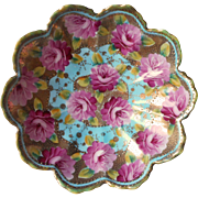 Vantine Nippon Bowl Antique Turquoise Magenta Roses Gold Chin