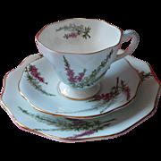 Foley Highland Heather Trio Cup Saucer Tea Plate Bone China Vintage