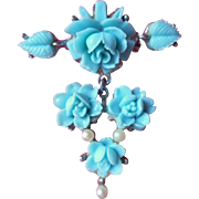 Vintage Pin Blue Roses Molded Plastic Faux Pearls Silver Tone Metal