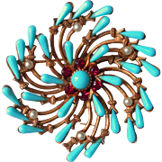 Signed HAR Brooch Vintage Faux Turquoise Faux Pink Sapphires