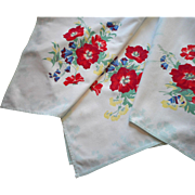Vintage Tablecloth Topper Printed Cotton Aqua White Bright Flowers