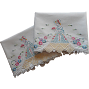Vintage Unused Southern Belle Pillowcases Hand Embroidered Lace