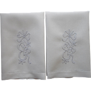 Vintage Guest Towels Pair White Linen Bows Blue Hand Embroidery