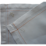 Monogram M. S. 1920s Pair Tray Cloth Traycloths Linen Orange Accent Lines