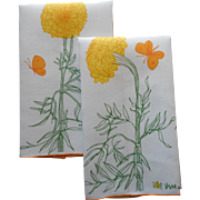Vintage Vera Guest Towels Linen Orange Yellow White