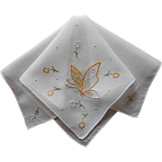 Madeira Hankie Vintage Organdy Inserts Butterfly Hand Embroidery