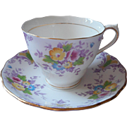 ca 1930 Colclough Hand Painted Cup Saucer Vintage Purple English Bone China