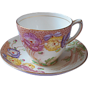 1920s Rosina Hand Painted Cup Saucer Vintage Purple English Bone China