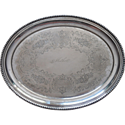 Mother Engraved On Antique Tray Silver Plated