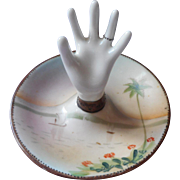 ca 1920 Nippon Ring Holder China Figural Hand Painted Palm Tree