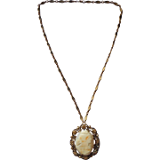 Vintage Weiss Shell Cameo Brooch Pin On Chain Golden Marcasites