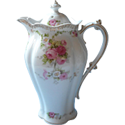 Antique Chocolate Pot Pink Roses Gold White China Schwarzburg