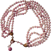 Signed Miriam Haskell Pink Glass Beads 5 Strand Necklace Vintage