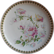 Haviland Limoges Plate Antique Pink Roses Four Leaf Clover Rim China French