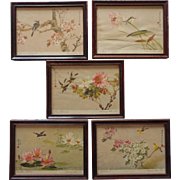 Set 5 Vintage Little Wood Frames Prints Chinese Pink Flowers Characters