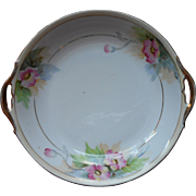 Vintage Nippon Relish Bowl Pink Flowers Hand Painted