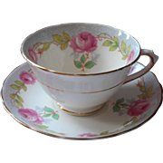 1910s Tuscan Bone China Cup Saucer Pink Roses Antique Blue Gray