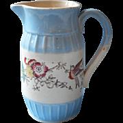 Antique Victorian Aesthetic Period Milk Pitcher China Birds Blue