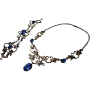 Vintage Art Deco Necklace Bracelet Set Blue Glass Stones 1920s to 1930s