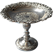 Ornate Vintage Silver Plated Candy Compote Dish Faces In Rim Decoration