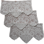 Set 3 Antimacassar Chair Back Doilies Antique Filet Crocheted Lace