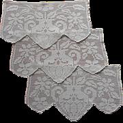 Set 3 Antimacassar Chair Back Doilies Antique Filet Crocheted Lace