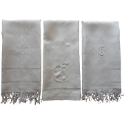 Monogram G Towels Three Antique Linen Damask Towel TLC