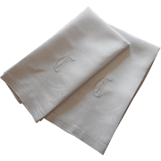 Monogram G Pair Antique Linen Damask Towels