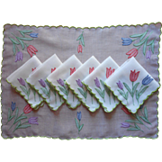 Organdy Tea Tray Cloth 6 Napkins Set Vintage Hand Embroidery Tulips