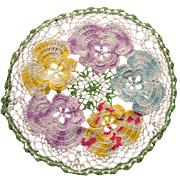 Vintage Doliy Pansies Crocheted Multi Color Lace