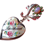 Vintage Sweetheart Heart Locket Pin Mother Of Pearl Faux Opal Roses