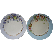 Hand Painted China Bread Plates Violets Wild Roses Antique