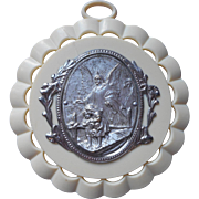 Vintage 1940s Italian Guardian Angel Bridge Medallion Nursery Plastic Metal