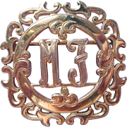 Monogram M. J. Vintage Monocraft Pin Brooch