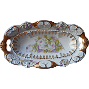 Roses Lilacs Antique German Little China Dish Much Gold