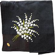 Vintage Hame Embroidered Fine Swiss Hankie Black Lily Of The Valley Original Label