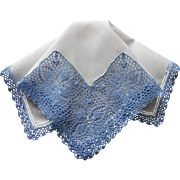 Vintage Hankie Lavish Crocheted Lace Blue On White Linen