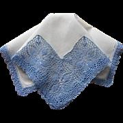 Vintage Hankie Lavish Crocheted Lace Blue On White Linen