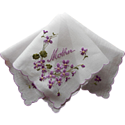 Mother Vintage Hankie Unused Violets Embroidery