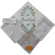 Vintage Hankie Embroidery Says Thank You Original Label Unused