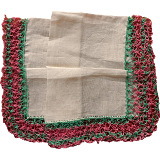 Vintage Tatted Lace Linen Hankie Unused Pink Green