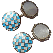 Antique Cufflinks Enamel Mother Of Pearl Turquoise Colored Checked