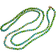 Vintage Accessocraft Necklace Mod Long Beads Bright Green Blue