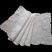 Vintage Madeira Runner Linen Cutwork Hand Embroidery All White