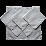 Monogram W Antique Linen Little Breakfast Napkins Classic Simple