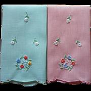Madeira Fingertip Towels Vintage Hand Embroidered Pink Green