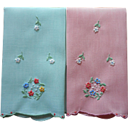 Madeira Fingertip Towels Vintage Hand Embroidered Pink Green