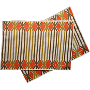 Vintage Vera Linen Placemats Orange Olive Green Tray Cloths