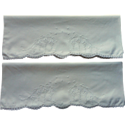 Vintage Pillowcases Wisteria Motif Hand Embroidery Crocheted Lace Trim All Cotton