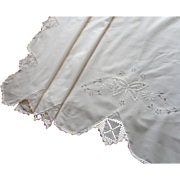 Vintage Sheet Butterfly Hand Embroidery Crocheted Lace Pale Purple
